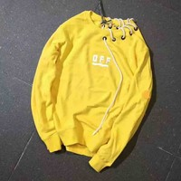 MONCLER x OFF-WHITE Letter and Print Long Couples Sleeve Sweater Yellow I-A-XYCL