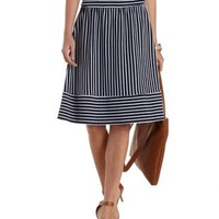 Navy Blue Cmb Mixed Striped Full Midi Skirt by Charlotte Russe