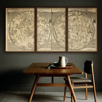 "Sky map 1705 Vintage star chart in 1 or 3 parts, Star constellations, 4 sizes up to 72x36"" (180x90cm) also blue - Limited Edition - Print 86"