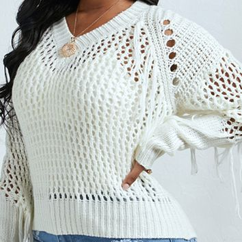 New hot sale loose knit sexy hollow tassel pullover women