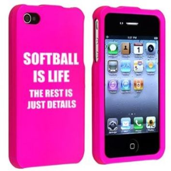 Apple iPhone 4 4S Hot Pink Rubber Hard Case Snap on 2 piece Softball is Life The Rest is Just Details