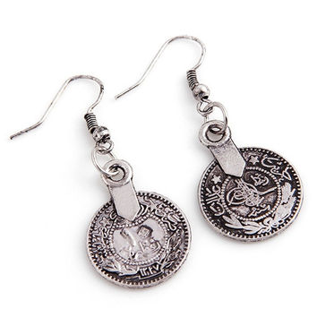 Silver Turkish Vintage Coin Earrings floral design Boho Gypsy Beachy Ethnic Tribal Festival Jewelry Turkish Bohemian Earrings (Color: Light grey) = 1928770244
