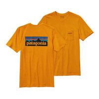 Patagonia Men's P-6 Logo Cotton Pocket T-Shirt- Sporty Orange