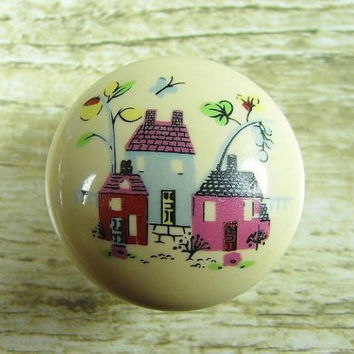 Rustic Dresser Drawer Pulls Knobs Handles Cream Ivory Off White Red Houses / Kitchen Cabinet Handle Pull Knob for Childrens Baby Kids