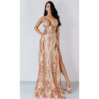 Busting Out Gold Sequin Spaghetti Strap Sleeveless Plunge V Neck Double Slit Maxi Dress