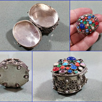 Pill Box Vintage Ring Box Trinket Holder Necklace Pendant or Bracelet Charm Colorful Glass and Stone Beads Silver Plated Pretty Lil Thing
