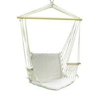 "【SALE】 Adeco Cotton Fabric Canvas Hammock Chair Tree Hanging Suspended Outdoor Indoor Bed, Natural Color, 20"" Wide Seat"