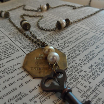 Skeleton Key Necklace, Vintage Dog Tag, Pearls, Steampunk, Recycled S24