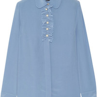 Gucci - Faux pearl-embellished ruffle-trimed silk crepe de chine blouse