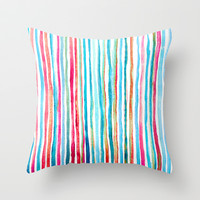 Watercolor Stripes in Pink, Coral, Blue & Aqua Throw Pillow by micklyn