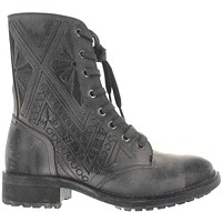 Musse & Cloud Cors - Grey Distressed Embroidered Leather Combat Boot