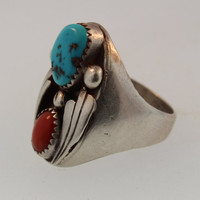 Vintage Native American Men's Sterling Silver Ring with Turquoise and Coal Stones Ring Size 10