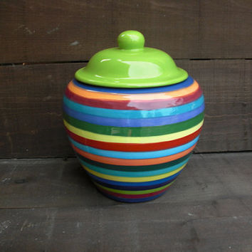 Extra Large Striped Ceramic Cookie Jar or Canister - Rainbow Stripes with Apple Green Lid