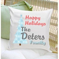 Personalized Happy Holiday Throw Pillows