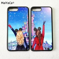 hight quality two girls BFF best friends pair silicone softe phone cases for iPhone 5s se 6 6s plus 7 7plus 8 8plus X XR XS MAX
