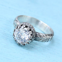 Engagement ring, silver ring, Swarovski Cubic Zirconia, floral band, CZ ring, crown setting, vintage style, promise ring, sterling silver