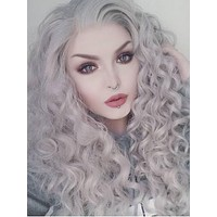 Long Grey Curly Hairstyle Synthetic Lace Front Wig