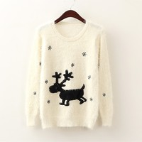 Christmas David's Deer and Snowflake White Winter Pullover White sweater