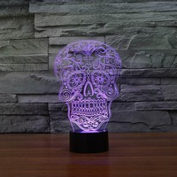 Creative Artistic 3D Visualization Skull Shpe LED Night Table Lamp for Home Decoration.