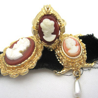 Vintage Cameo Jewelry Collection - Ring, Necklace, Pendant Lot