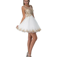 White & Gold Lace Short Flared Tulle Party Dress 2016 Prom Dresses