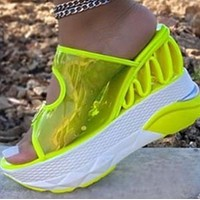 Summer new style slippers with transparent PU double buckle fluorescent color