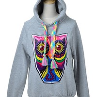 Anna-Kaci S/M Fit Grey Hoodie Large Eyed Owl Highlighter Neon Sweater Strings