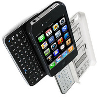 Sliding Black or White Bluetooth Keyboard+Hardshell Case for iPhone 4/4s/5