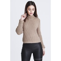 HOT!MESS TAUPE GRANDAD KNITTED JUMPER - Female HOT!MESS Fashion UK