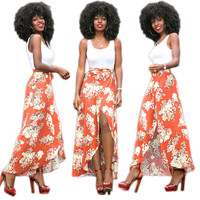 White Vest and Floral Irregular Maxi Skirts