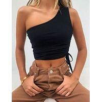 fhotwinter19 Women's solid color sleeveless lace-up sexy one-shoulder halter drawstring vest