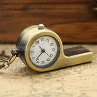Vintage whistle pocket watch necklace with snail charm