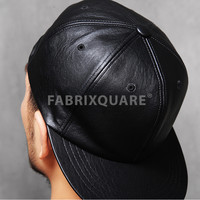 Black Top Quality Faux Leather Snapback - special price