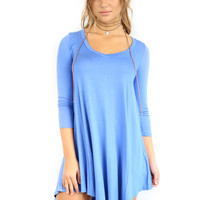 Maybe Baby Sky Denim V-Neck Quarter Sleeve Tunic Dress
