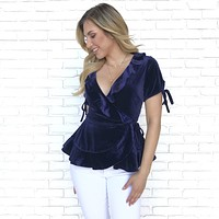 Live a Little Velvet Blouse in Navy