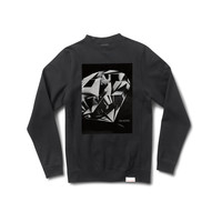Diamond Cut Crewneck Sweatshirt in Black