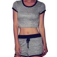 Cropped Short Sleeve Sportswear set