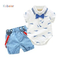 0-2Y Summer born Baby Boy Girl Clothes set Little Shark T-shirt Overalls +Blue Shorts Outfits Clothes Baby Clothing Set