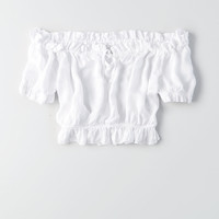 Don't Ask Why Off-the-Shoulder Crop Top, White
