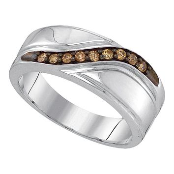 Sterling Silver Men's Round Cognac-brown Color Enhanced Diamond Wedding Band Ring 1/4 Cttw - FREE Shipping (US/CAN)