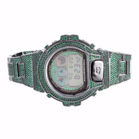 Emerald Green G Shock DW6900 Digital Iced Out Metal Band Wrist Watch