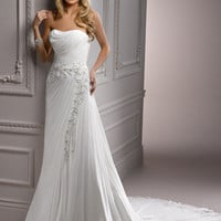 Ivory Grecian Draping Chiffon Strapless Floral Embroidered Jordan Wedding Dress - Unique Vintage - Cocktail, Pinup, Holiday & Prom Dresses.