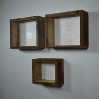 Shadowbox display shelves from repurposed wood set of 3 Made in the USA free shipping