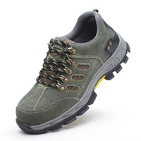 large size men breathable steel toe covers work safety shoes women outdoors hiking non-slip spring autumn boots soft leather