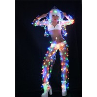Women's LED Light Up Sheer Jacket and Pants Set