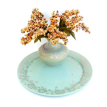 Antique Tray Tin Toleware Large Round Metal Platter Mint Green Silver Rose 1930s American Art Works Shabby chic Cottage