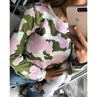 Long sleeved collar camouflage sweater