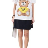 "Hot Sale Moschino ""Yellow Bear"" Fashion Women T Shirt Loose Short Sleeves"