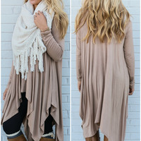 Mountain Breeze Mocha Trapeze Tunic with Handkerchief Hem