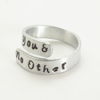 You and No Other ring - Vous et nul autre - Adjustable aluminum ring - Girlfriend ring Boyfriend ring - Hand-stamped silver-tone ring